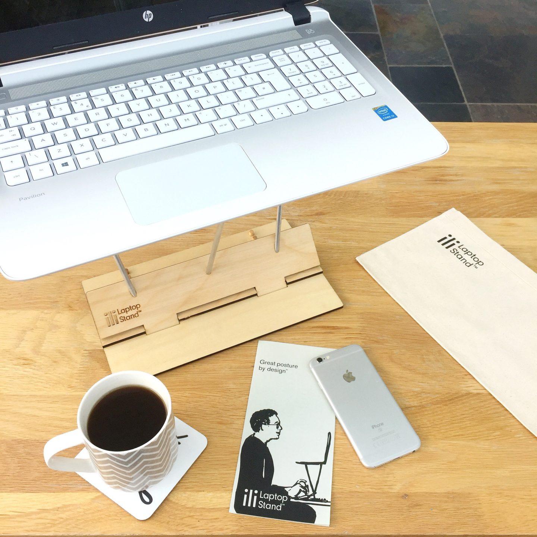 Laptop on an ili laptop stand