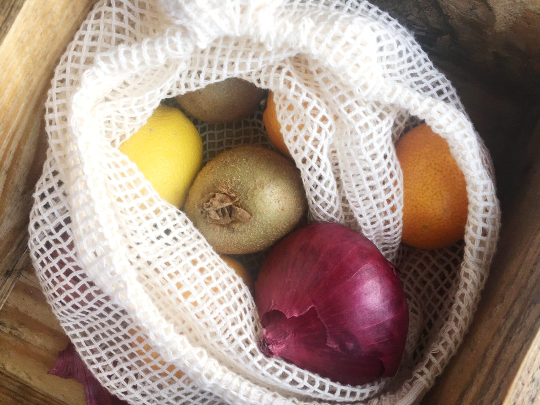 Battle Green Box organic cotton mesh bag for fruit and veg