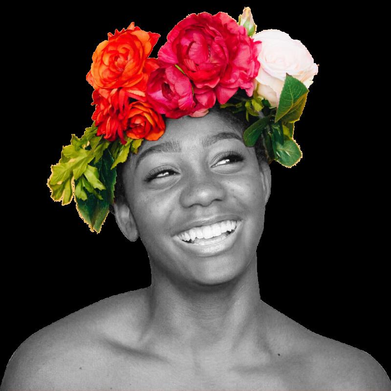 Flower girl - black and white